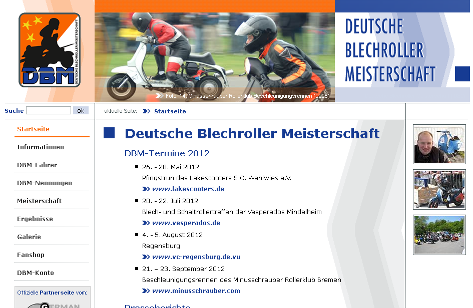 Screenshot alte DBM Website